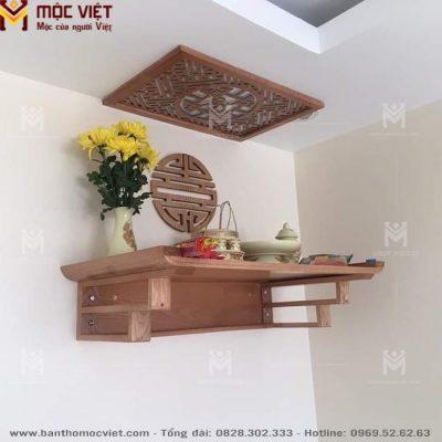Bàn thờ ông táo treo tường bằng gỗ đẹp phù hợ voái không gian nhà bếp