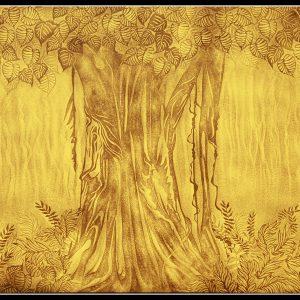 Tranh trúc chỉ cây bồ đề phòng thờ phật đẹp