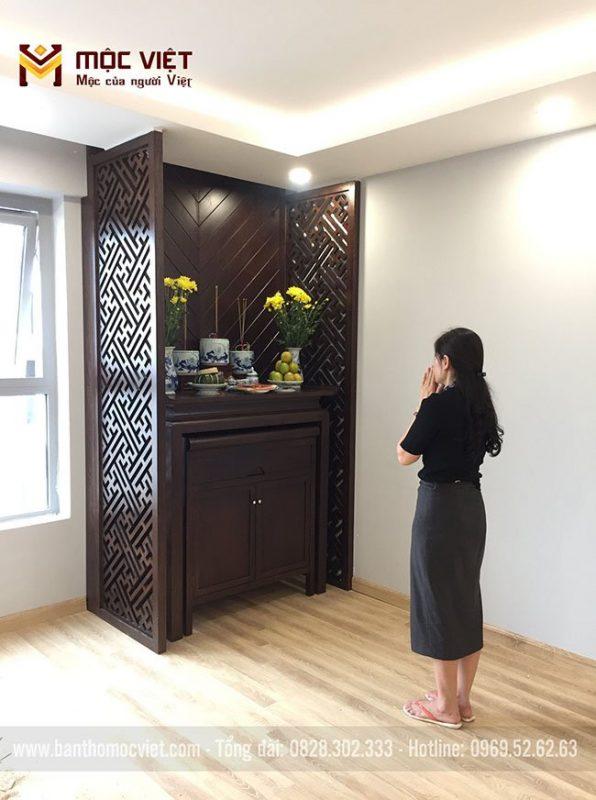 mẫu phòng thờ chung cư thiết kế hiện đại, đơn giản, ấm cúng