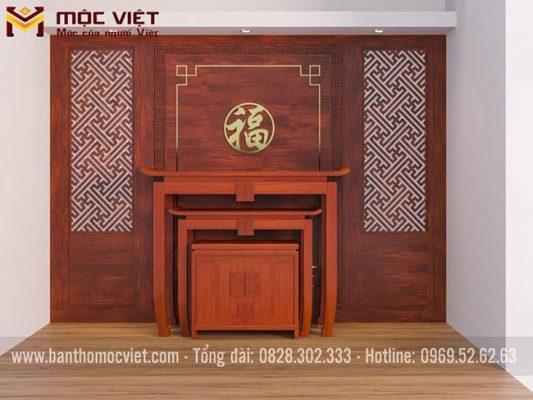Mẫu phòng thờ đẹp gỗ gõ 3 món