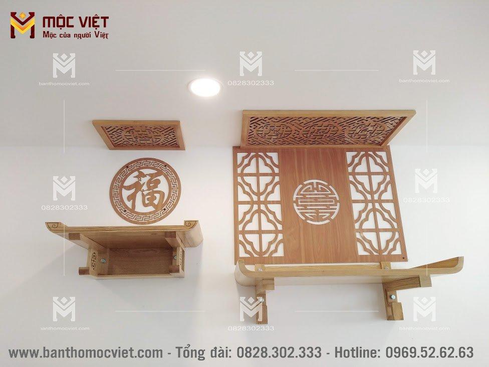 Bàn treo tường thờ phật kết hợp bàn gia tiên