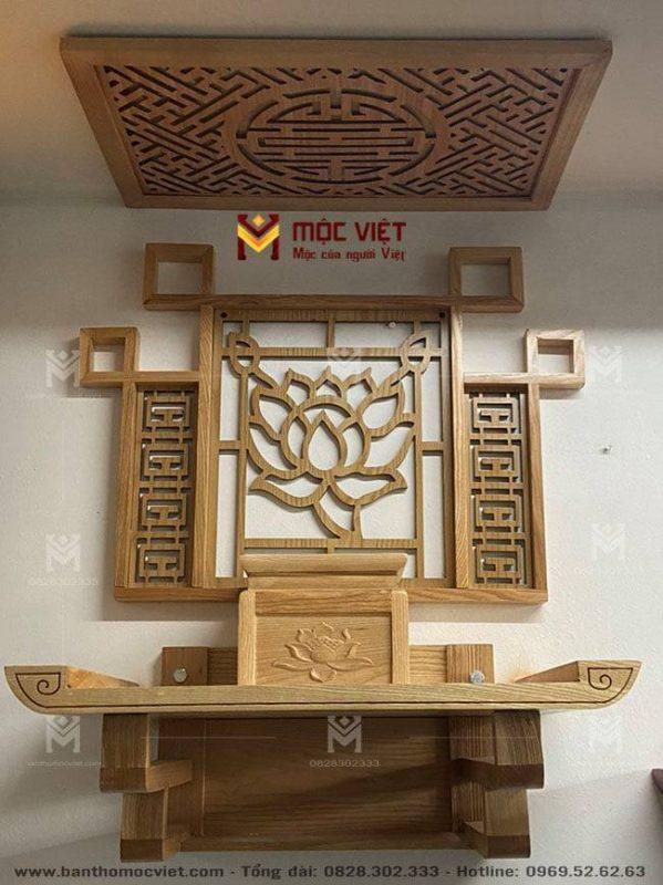 Mẫu ban thờ treo tường hiện đại đẹp có ốp lưng trang trí