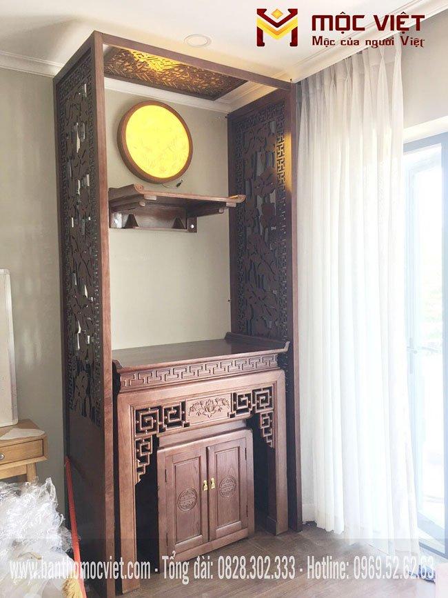 Mẫu phòng thờ chung cư hiện đại có vách ngăn